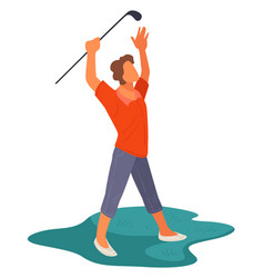 golf field exited golfer with club playing vector image