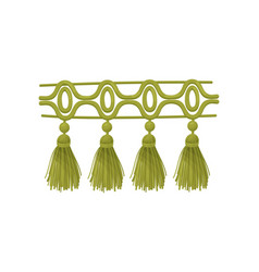 Green braid with tassels on vector