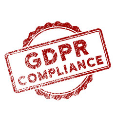 Grunge textured gdpr compliance stamp seal vector