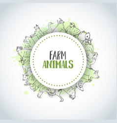 Hand drawn farm animals background farming vector