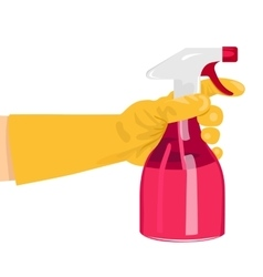 hand holding a pink spray bottle vector image