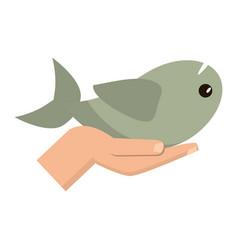 Hand holding fish catholic symbol vector