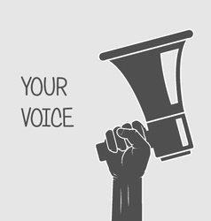 Hand holding megaphone - voice and opinion vector