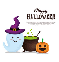 Happy halloween card with cauldron and pumpking vector
