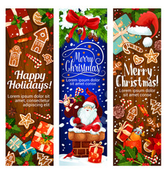 Happy winter christmas holidays banners vector