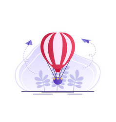 hot air balloon with red and white stripes summer vector image