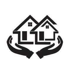 House icon with a picture hand below it vector