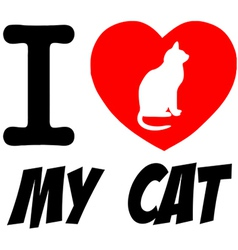 I love my cat heart logo vector image