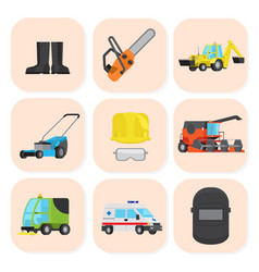 Industrial equipment and special machine icons set vector