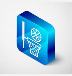 Isometric basketball ball and basket icon isolated vector