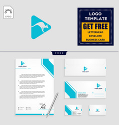 kangaroo logo template and stationery design vector image