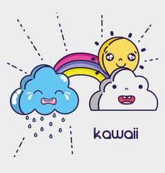 Kawaii clouds and sun faces expression vector
