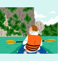 Kayaking at beautiful and exotic river boy in vector