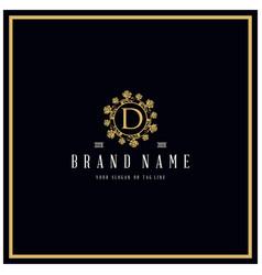 Letter d rose logo design concept ornament vector