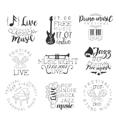 Live Music Hand Drawn Banner Set vector image