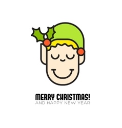 Merry christmas greeting card with cartoon elf vector