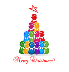 merry christmas tree kids and children vector image