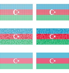 Mosaic Azerbaijan flag set vector