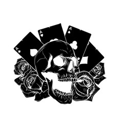 motorcycle woman skull with playing vector image
