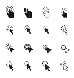 Mouse pointer icons set simple style vector