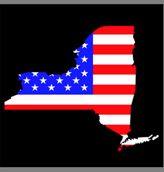 new york state map with american national flag vector image