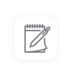 Notebook and pen icon in line style vector