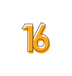 Number 16 template design design for anniversary vector