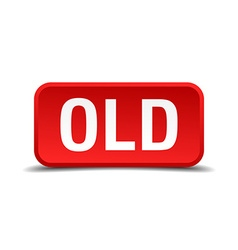 Old red 3d square button isolated on white vector image