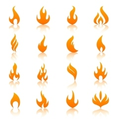Orange fire flames icon set vector image