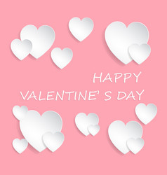 paper cut white hearts on pink vector image