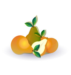pear fruit on white background healthy lifestyle vector image