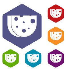 piece of swiss cheese icons set vector image