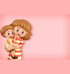 Plain background with mother and son smiling vector