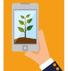 Plant eco growth concept business technology vector