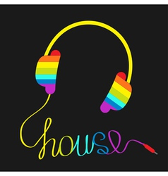 Rainbow headphones with cord house Music vector