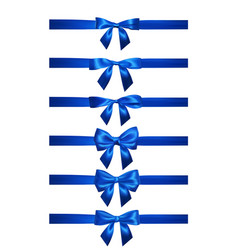 realistic blue bow with horizontal blue ribbons vector image