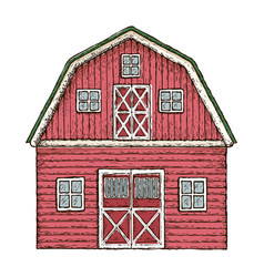 red wooden farming barn vector image