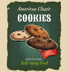 Retro fast food cookies poster vector