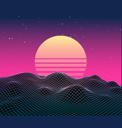 retro vaporwave backgroud future landscape 80s vector image