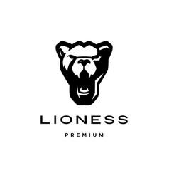 roaring lioness head logo icon vector image
