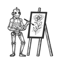 robot artist painter sketch engraving vector image