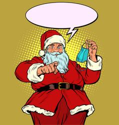 Santa claus medical mask call to be healthy vector