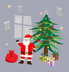 santa clause standing beside christmas tree vector image