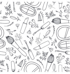 Seamless beauty cosmetics doodle pattern vector