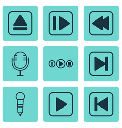 Set 9 audio icons includes skip song extract vector