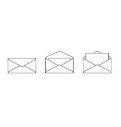 set envelope icons isolated on white vector image