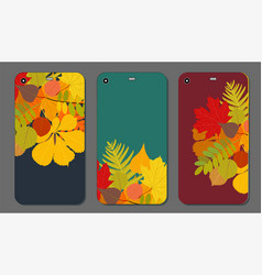 Set of autumn ornament for mobile phone cover the vector
