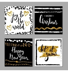 Set of Merry Christmas and Happy New Year card vector