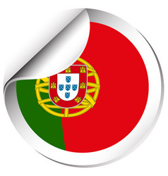 Sticker design for portugal flag vector