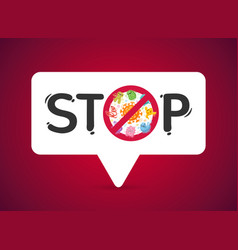 stop sign with viruses and bacteria vector image